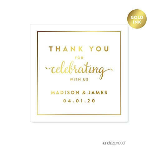 Andaz Press Personalized Square Wedding Favor Gift Labels Stickers, Metallic Gold Ink, Thank You for Celebrating With Us, 40-Pack, Custom Made Any (Personalized Gift Stickers)