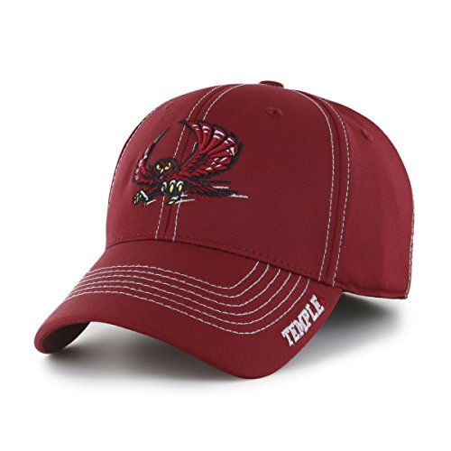 OTS NCAA Temple Owls Adult Start Line Center Stretch Fit Hat, Medium/Large, Razor (Temple Owls Ncaa Basketball)