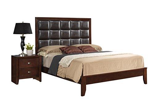 Global Furniture Carolina Bed, Queen, Cherry and Brown PU