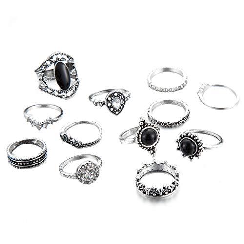 - Peigen Women Golden Retro Knuckle Ring Set Alloy Knot Carved Joint Knuckle Nail Midi Ring Set Boho Ring Set