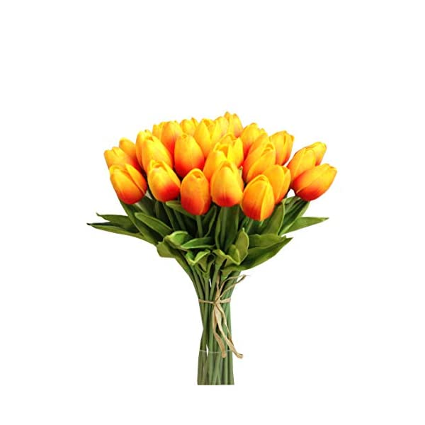 Mandy's 30pcs Orange 14″ Artificial Latex Tulip Flowers for Party Home Wedding Decoration (vase not Include)