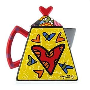 Romero Britto Square 2 Hearts Teapot Romero Britto