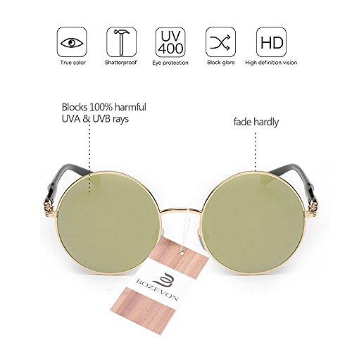 soleil Circle pour Lens BOZEVON femmes Or de Retro Style Lunettes Round or w88xXZSq