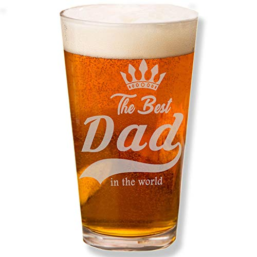 - Shop4Ever The Best Dad In The World Laser Engraved Beer Pint Glass ~ Father's Day Gift ~ (Engraved, 16 oz.)