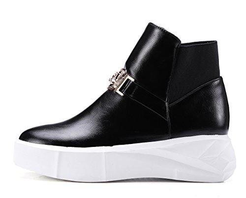 Tacón Grueso De La Suela De La Manera Del Dedo Del Pie Redondo De La Manera Del Metal De Las Mujeres De Aisun En Los Zapatos De Las Botas Del Tobillo Negro