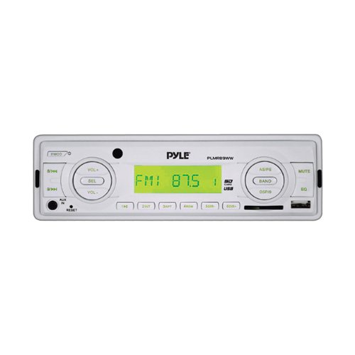 Pyle PLMR89WW Marine Flash Audio Player - 160 W RMS - Single DIN - LCD Display - MP3 - AM, FM - 18, 12 x FM, AM Preset - Secure Digital (SD) Card, MultiMediaCard (MMC) - USB - Auxiliary Input - Detachable Front Panel by Pyle