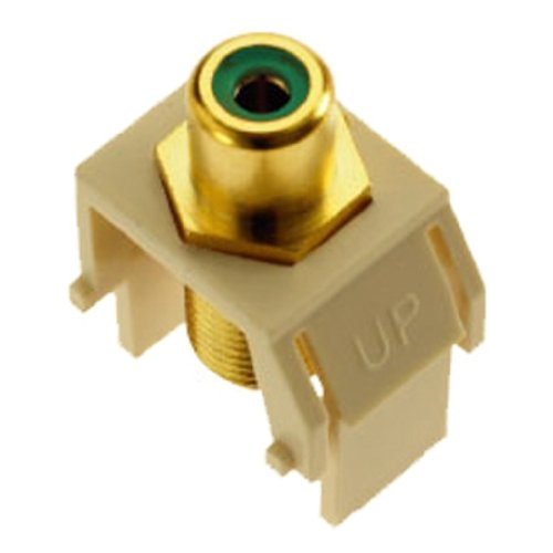 Legrand - On-Q WP3463LA Green RCA to FConnector, Light Almond