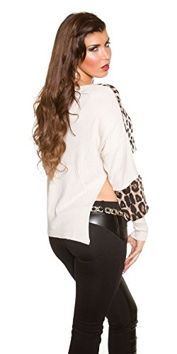 Fashion By Miss Fusion - Camiseta de manga larga - para mujer blanco crema