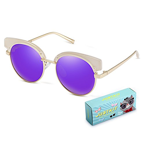 JUSTKIT Kids Polarized Sunglasses Metal Frame For Children Age 4-12 - 11 7 Sunglasses