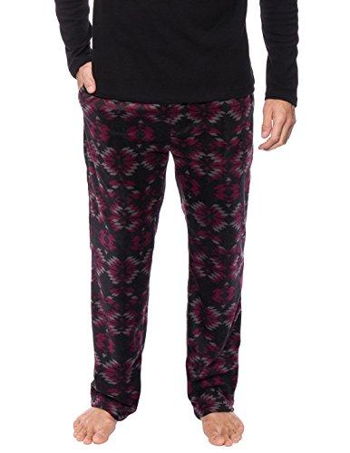 Men's Premium Microfleece Lounge/Sleep Pants - Aztec Black/Fig - Large Microfleece Lounge Pants