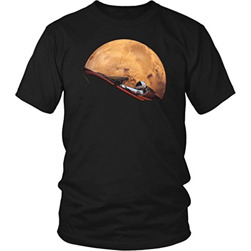 Spacex Starman in Orbit Around Mars District Unisex T-Shirt Black