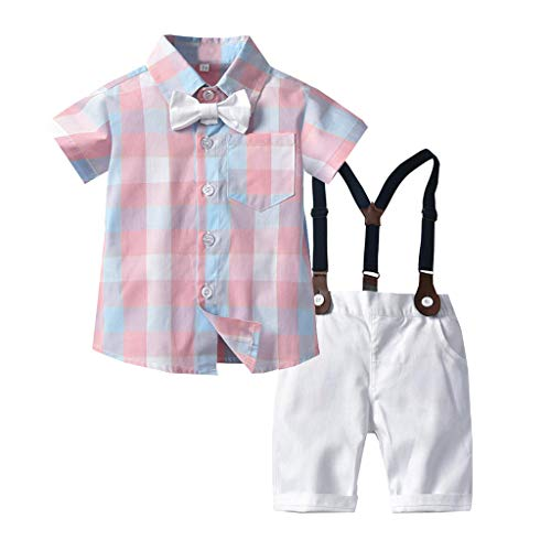 Shusuen_baby Boys Gentleman Outfits Suits Infant Short Sleeve Shirt+Shorts Pants Overalls Clothes Set ()