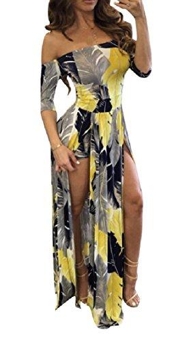 Coolred-femmes Sexy Épaule De Séparation D'impression Au Large Dos Ouvert Robe De Plage Maxi À Long Mince Pattern4