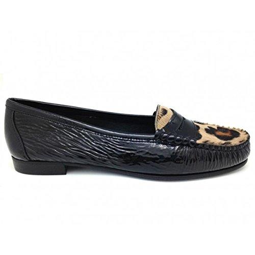 Castellano® 1920 Madrid - Mocasín en Charol Negro y Pelo Grabado Leopardo para Mujer: Amazon.es: Zapatos y complementos