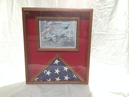Flag Display Case With Certificate Holder, Solid Mahogany Wood Clear Gloss Finish