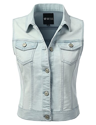 Denim Vest Jacket - DRESSIS Womens Casual Sleeveless Denim Jean Cropped Vest Jacket LIGHTBLUE L