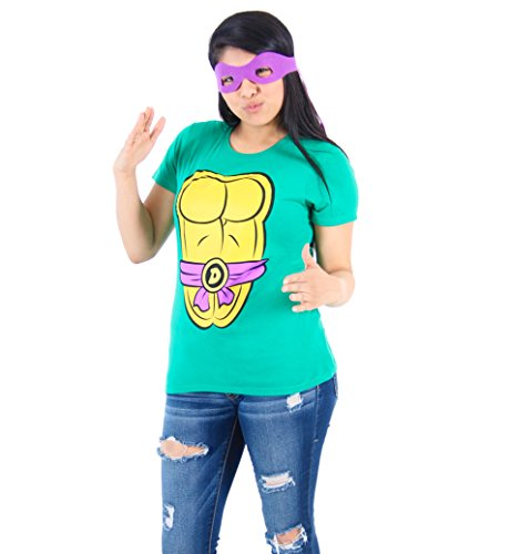 Tmnt Costumes Womens (TMNT Teenage Mutant Ninja Turtles Donatello Costume Juniors Green T-shirt with Purple Eye Mask (Juniors X-Large))