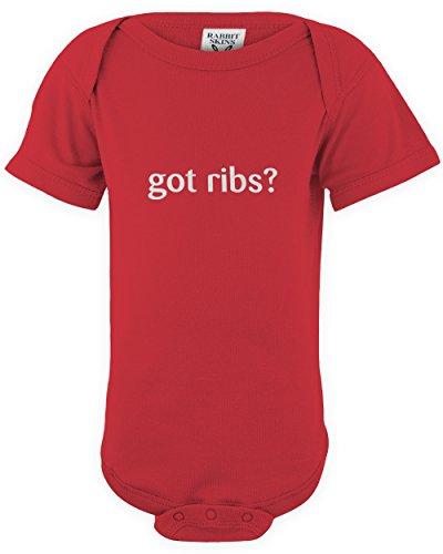 shirtloco Baby Worlds Okayest Got Ribs Onesie Bodysuit, Red 24 Months
