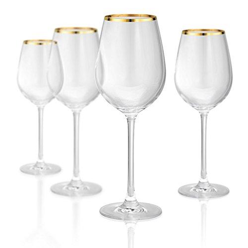 Artland 70211B Gold Band White Wine Non-Lead Crystal Glass, Set Of 4, 15 oz, -