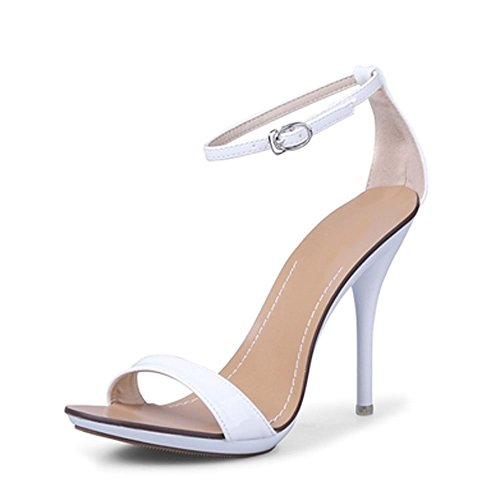 Leather Peep Toe Mary Janes (US Size 5-9 Leather Sexy Stiletto Sandals Mary Janes Womens Shoes Pump Open Toes (7.5, White))