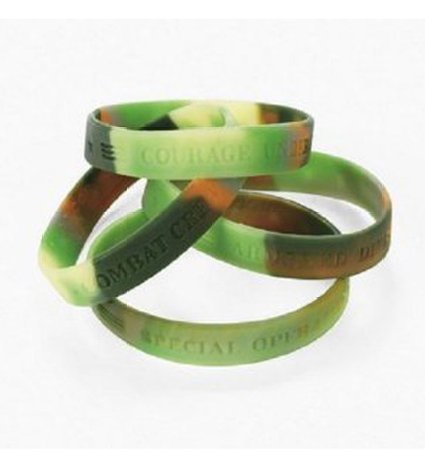 12 Silicone Camouflage Army Sayings Bracelets ()
