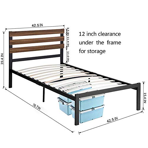 GreenForest Twin Bed Frame with Headboard and Wood Slats Support Metal Studio Platform No Boxing Spring Needed Mattress Foundation, No-Noise