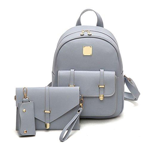 Amazon.com  Swimblue Bag Pu Leather Backpack Women Cute 3 Sets Bag School  Backpacks For Teenage Girls Black Bags Letter Sac A Dos  Shoes 26ad8e3871906