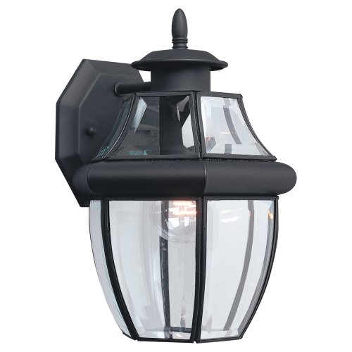 Light Wall Beveled (Sea Gull Lighting 8038-12 Single-Light Lancaster Medium Outdoor Wall Lantern, Clear Beveled Glass and Black)