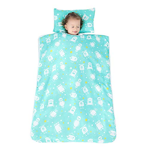 XINdream Toddler Nap Mat with Removable Pillow, Anti-Kick Roll Quilt Baby Sleeping Bag Soft Cotton Preschool and Daycare Suitable for Room Temperature 25°C - 35°C, S M L XL