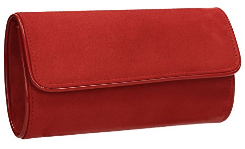 Jamie Suede Velvet Flapover Womens Party Prom Ladies Clutch Bag - Red
