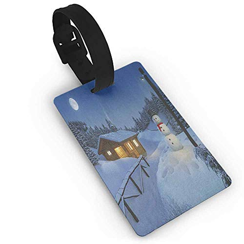 Funky Travel Luggage Tags Christmas,Wooden Rustic Log Cottage Scenery in the Winter Season Warm Moonlight Spirit, Blue White One Size Portable Label