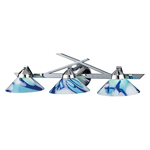 (Alumbrada Collection Refraction 3 Light Vanity In Polished Chrome And Carribean Glass)
