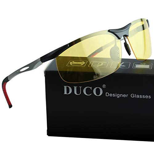 DUCO Night Driving Glasses with Polarized Yellow Lens for Cutting Headlight Glare 2181