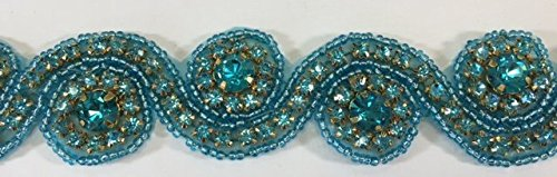(ModaTrims Hot-Fix or Sew-On Beaded Crystal Rhinestone Trim by Yard for Bridal Belt Wedding Sash (Turquoise Crystals and Beads, Gold Cups, 1 Yard x 1.25 Inch Wide))