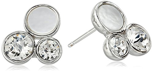 Oroclone Rhodium Plated Swarovski Patina Crystal and Mother-of-Pearl Stud Earrings