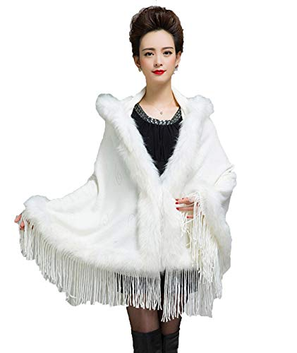 Womens Faux Fur Shawl, Luxury Bridal Hoodie Tassel Wrap Batwing Sleeve – Warm Outerwear Cloak Coat Sweater Cape (White)