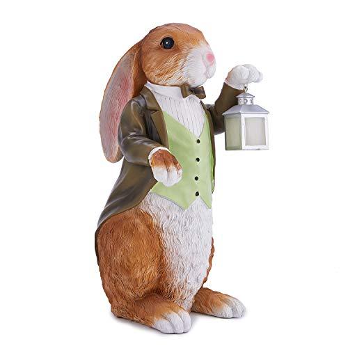 "XWAUTO The Rabbit Butler Mr Bunny with Lantern Statue Garden Decor Sculpture Indoor Outdoor Ornament 16"" by XWAUTO"