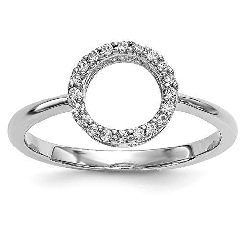 Bonyak Jewelry 14k White Gold Diamond Open Circle Ring - Size 7