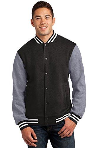 Sport-Tek Men's Fleece Letterman Jacket 3XL Black/ Vintage Heather by Sport-Tek