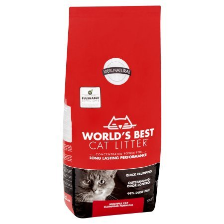 World's Best Cat Litter 28 lbs Odor Control Multiple Cat Clumping Formula, 4 Pack