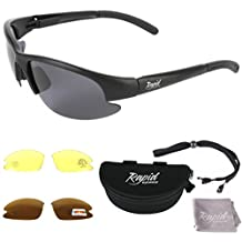 POLARIZED ANGLING / FISHING SUNGLASSES with Interchangeable Polarized Anti Glare and Low Light Lenses. For Men and Women. UVA / UVB (UV400) Protection. TR90 Matt Black Frame