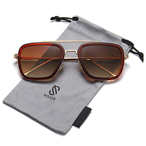SOJOS Retro Aviator Square Sunglasses for Men Women Goggle Classic Alloy Frame Gradient Flat Lens Hero SJ1126 with Gold Frame/Brown Rim/Gradient Brown ()