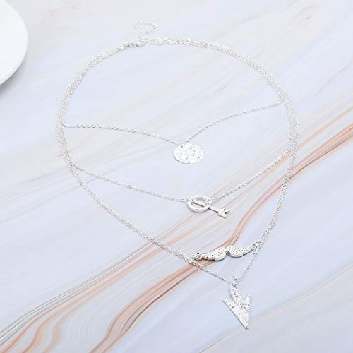 Yalice Layered Arrow Ring Lariat Necklace Chain Feather Sequins Necklaces Jewelry for Women and Girls (Silver)