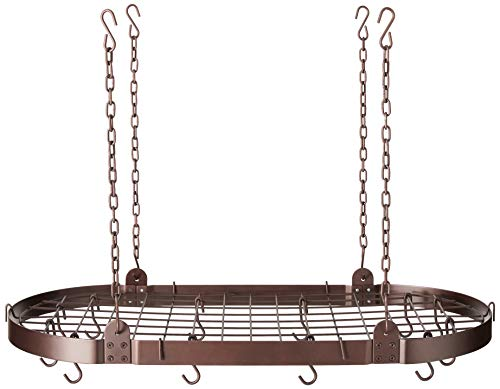 - Old Dutch Oval Pot Rack with Grid & 12 Hooks, Oiled Bronze, 36