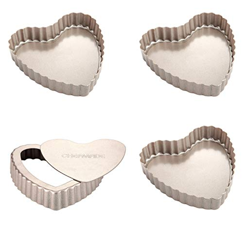 CHEFMADE Mini Tart Pan Set, 4-Inch 4Pcs with Removable Loose Bottom Non-Stick Heart-shaped Quiche Bakeware, FDA Approved for Oven and Instant Pot Baking (Champagne Gold)