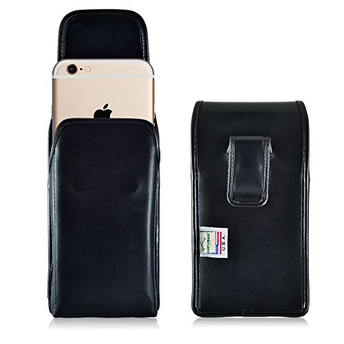 iPhone 6S 6 Holster, Turtleback Vertical Apple iPhone 6S Belt Case, Executive Metal Belt Clip, Black Leather Pouch, Made in - Case Executive Vertical