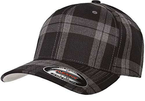 Cap Plaid Ball (Flexfit Tartan Plaid Hat | Stretch Fit, Curved Visor, Ballcap (Large/X-Large - Black/Grey))