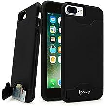 iPhone 7 Plus Case, Bastex Hybrid Slim Fit Black Rubber Silicone Cover Hard Plastic Black Brushed Metal Design Kickstand Case with Hidden Credit Card Slot for Apple iPhone 7 Plus