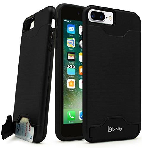 - iPhone 7 Plus Case, Bastex Hybrid Slim Fit Black Rubber Silicone Cover Hard Plastic Black Brushed Metal Design Kickstand Case with Hidden Credit Card Slot for Apple iPhone 7 Plus