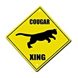 Moira Cougar Crossing Metal Aluminum Novelty Sign 12 in x 12 in